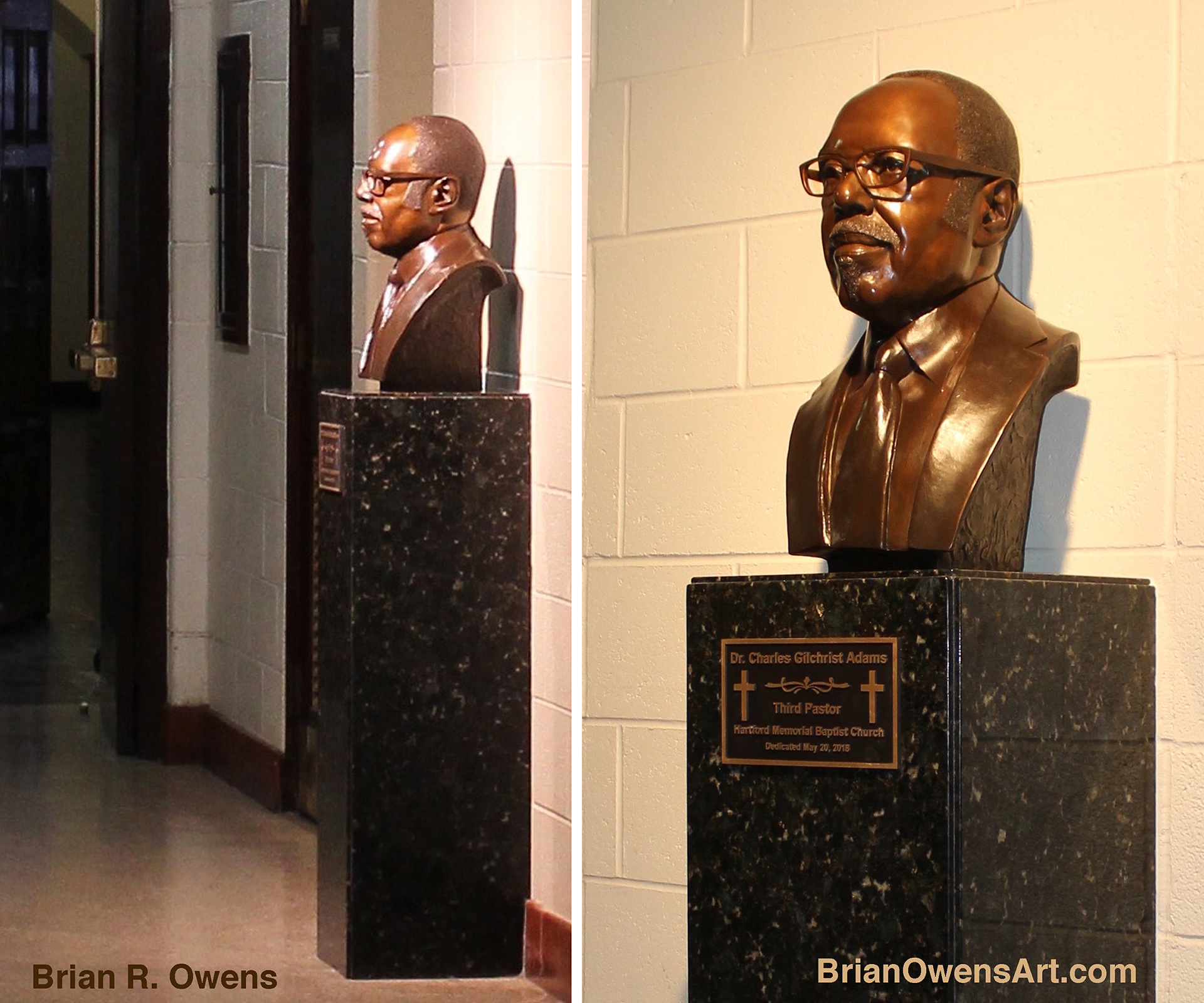 Bust of Dr. Charles G. Adams, installed