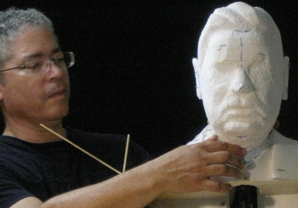 Owens at work on a bronze bust