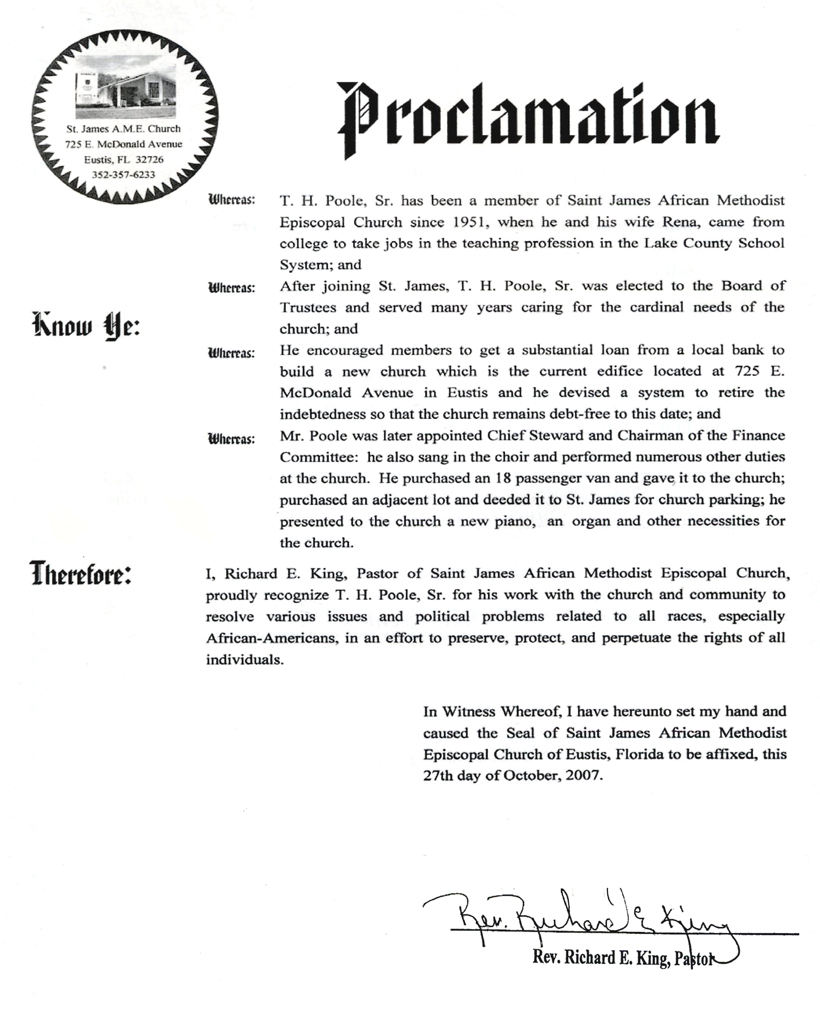 Proclamation 2, T.H. Poole